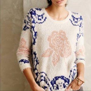 Anthropologie La Fee Verte Fuzzy Rose Print Shirt